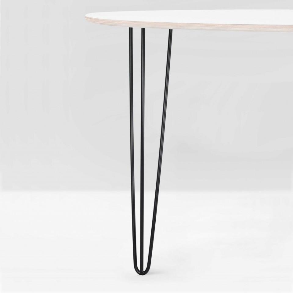 Tischbein aus Stahl: Harald 700 Schwarz matt