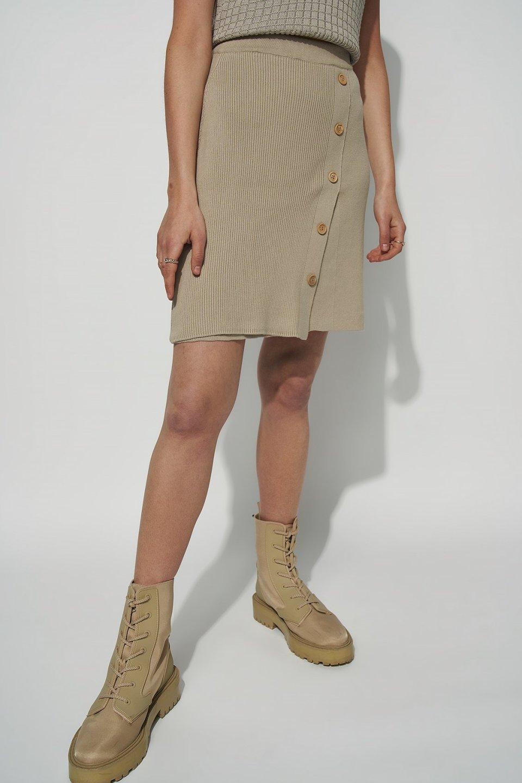 100% Organic Asymmetric Button Detail Knitted Mini Skirt
