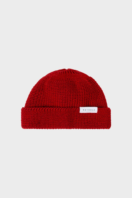 Kurze Mütze Wolle Ripp Rot
