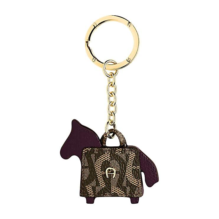 Aigner Damen Schlüsselanhänger Pferd und Tasche, Materialmix in Antic