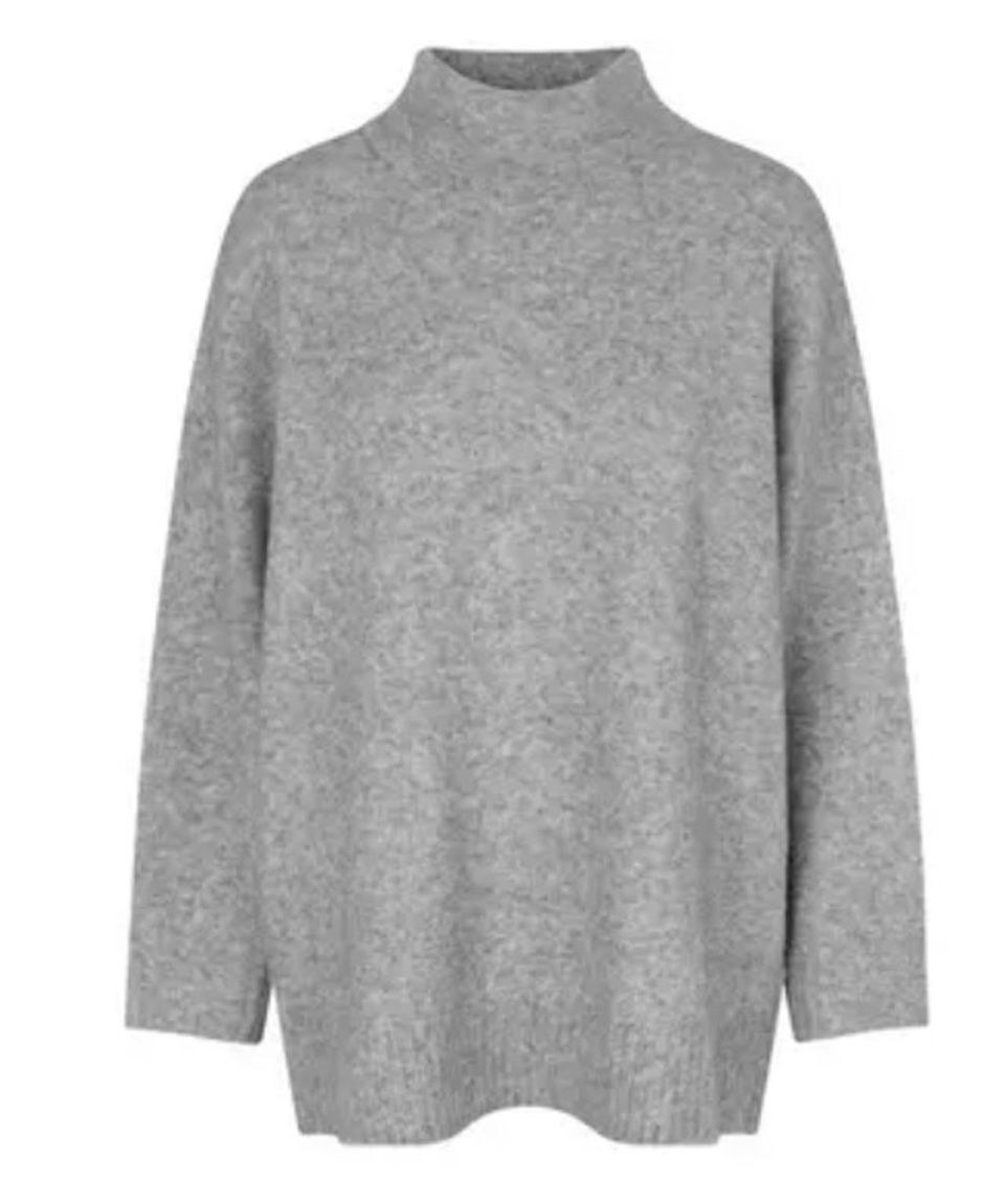 JUST FEMALE Grau melierter Pullover aus weichem Wollmix