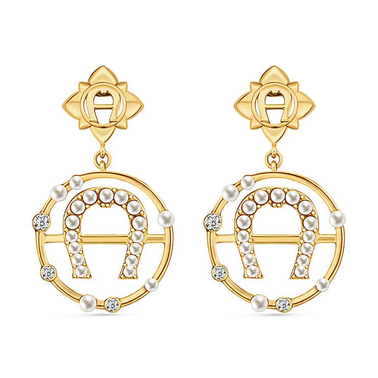 Aigner Damen Ohrringe A-Logo mit Perlen und Kristallen, in Gold