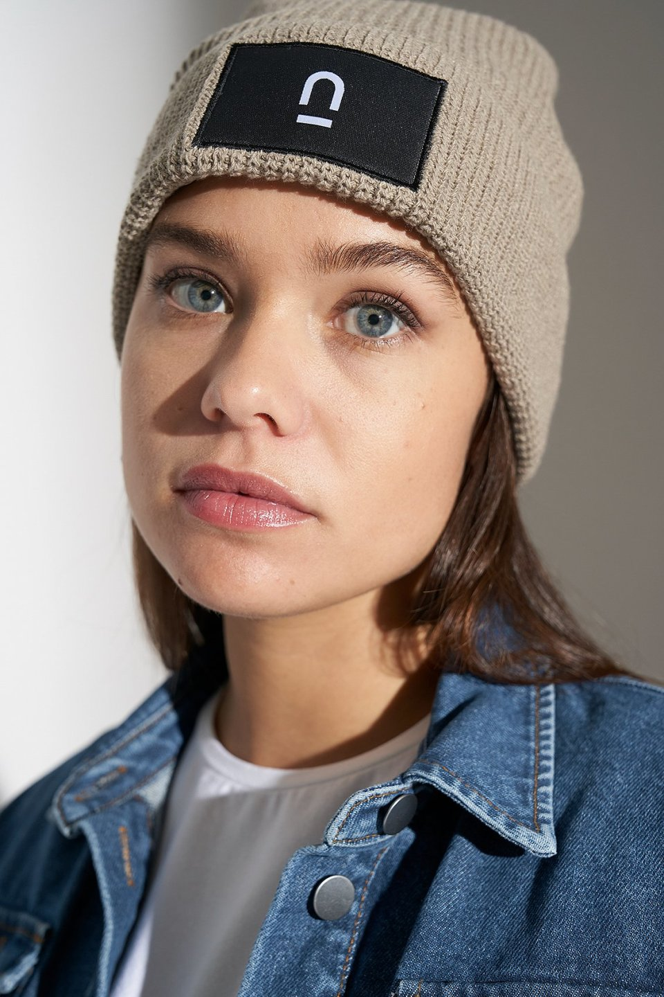 Unisex Patch Ribbed Beanie