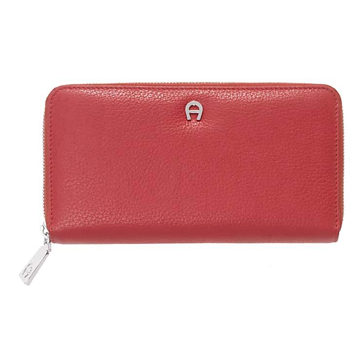 Aigner Damen Geldbörse mit Reißverschluss, Prägung in Rot