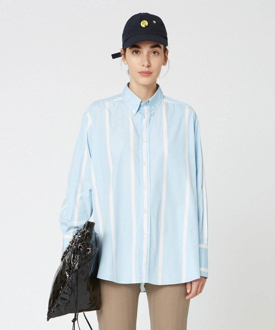 HOPE Blau-weiße Hemdbluse
