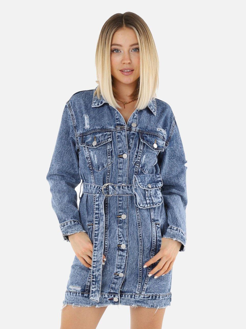 Lange Jeansjacke mit Gürtel - Denim