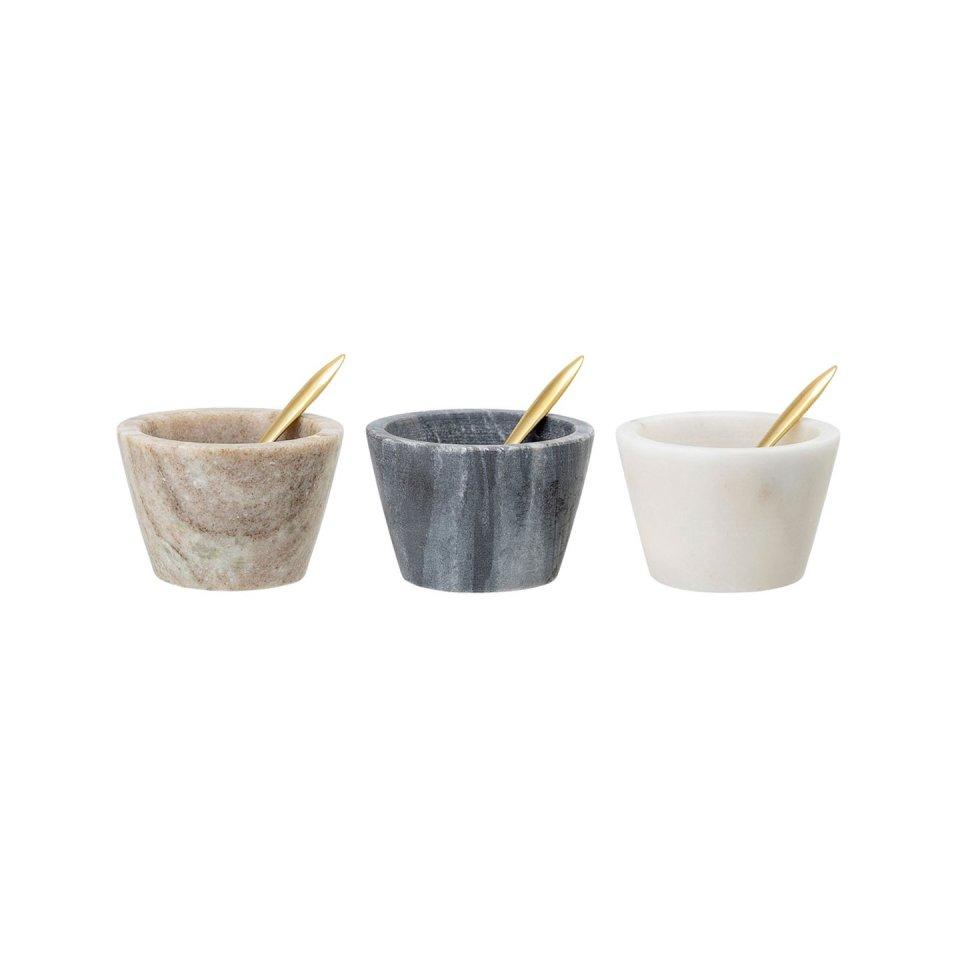 Gewürzschalen-Set aus Marmor mit Löffel