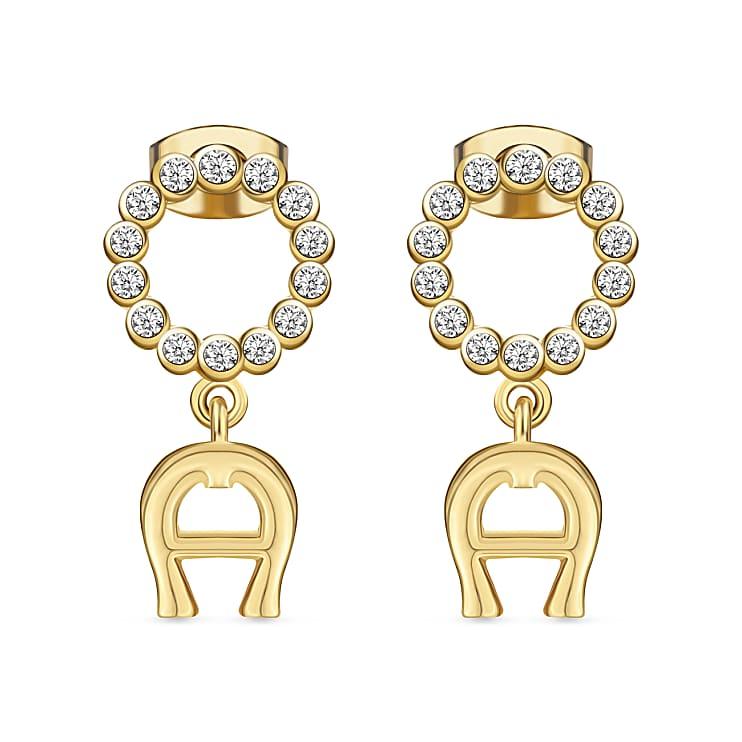 Aigner Damen Ohrringe CALVINA vergoldet A-Logo mit Kristallen, in Gold