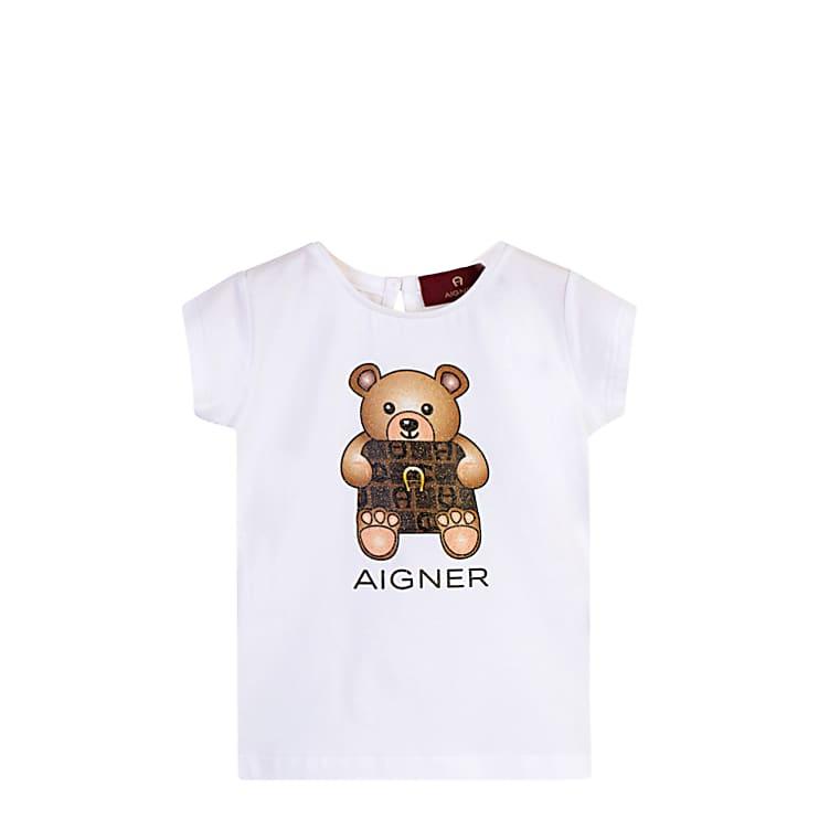 Aigner Damen Mädchen T-Shirt, Baumwollmix in Weiß