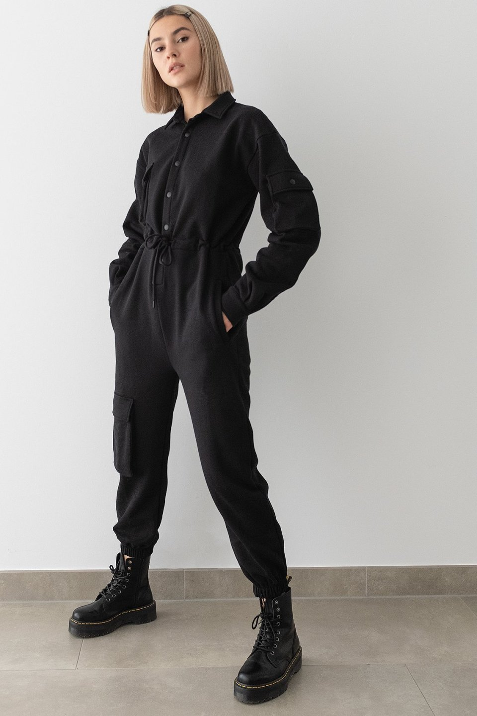 100% Recycled Cargo Oversized Jersey Jumpsuit
