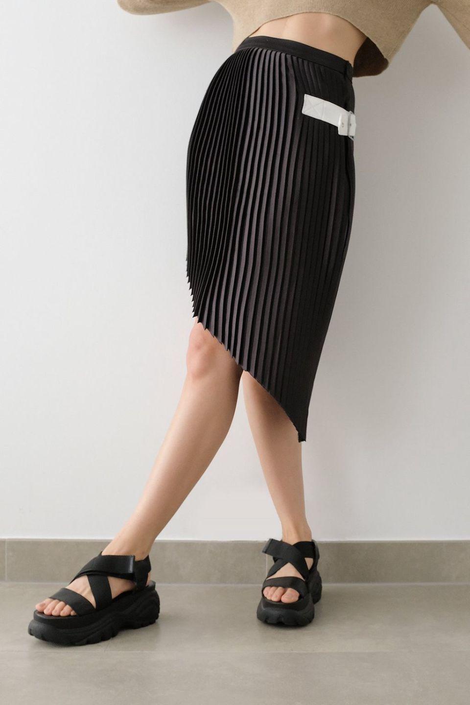 Asymmetric Hem Pleated Midi Skirt