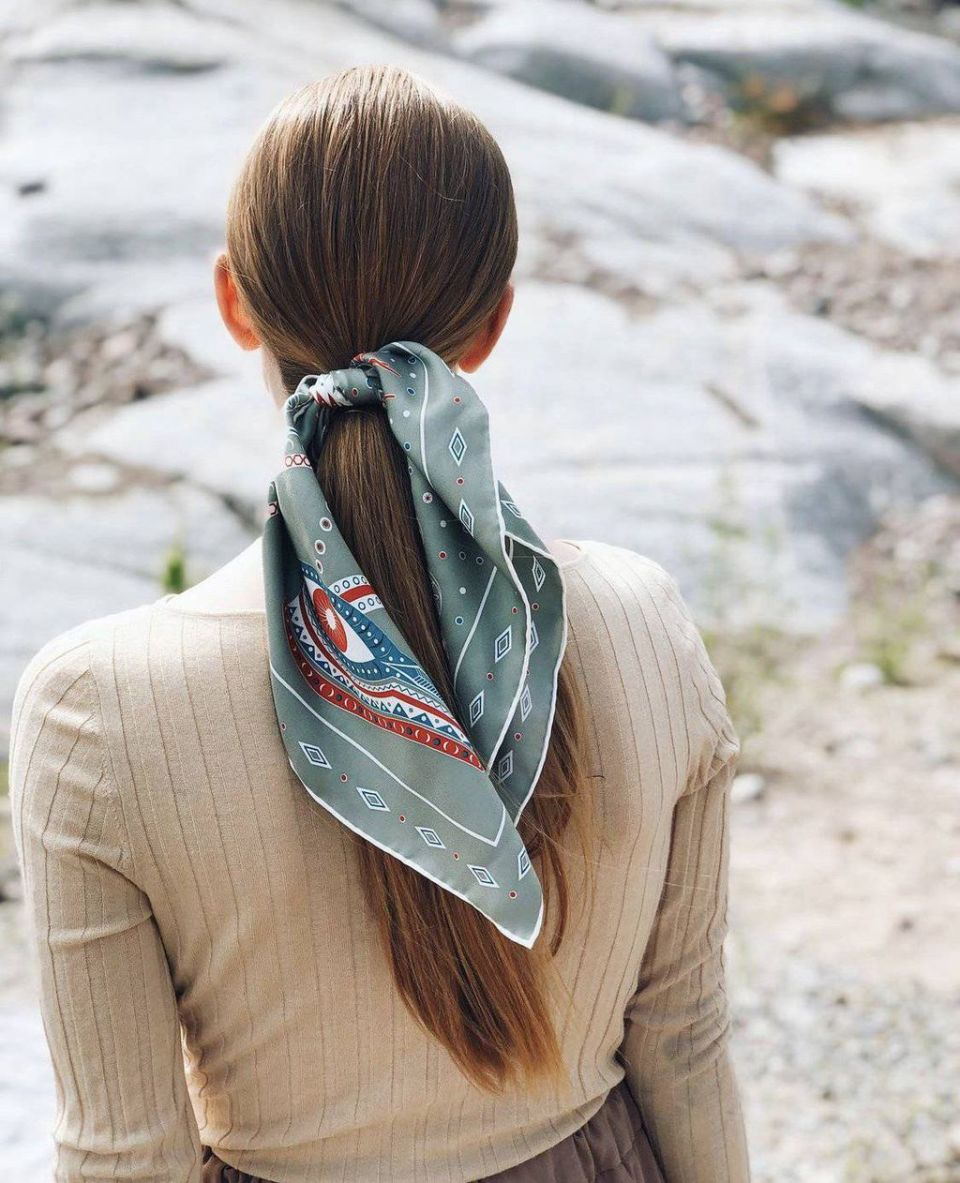 Nefertiti Silk Scarf -Khaki