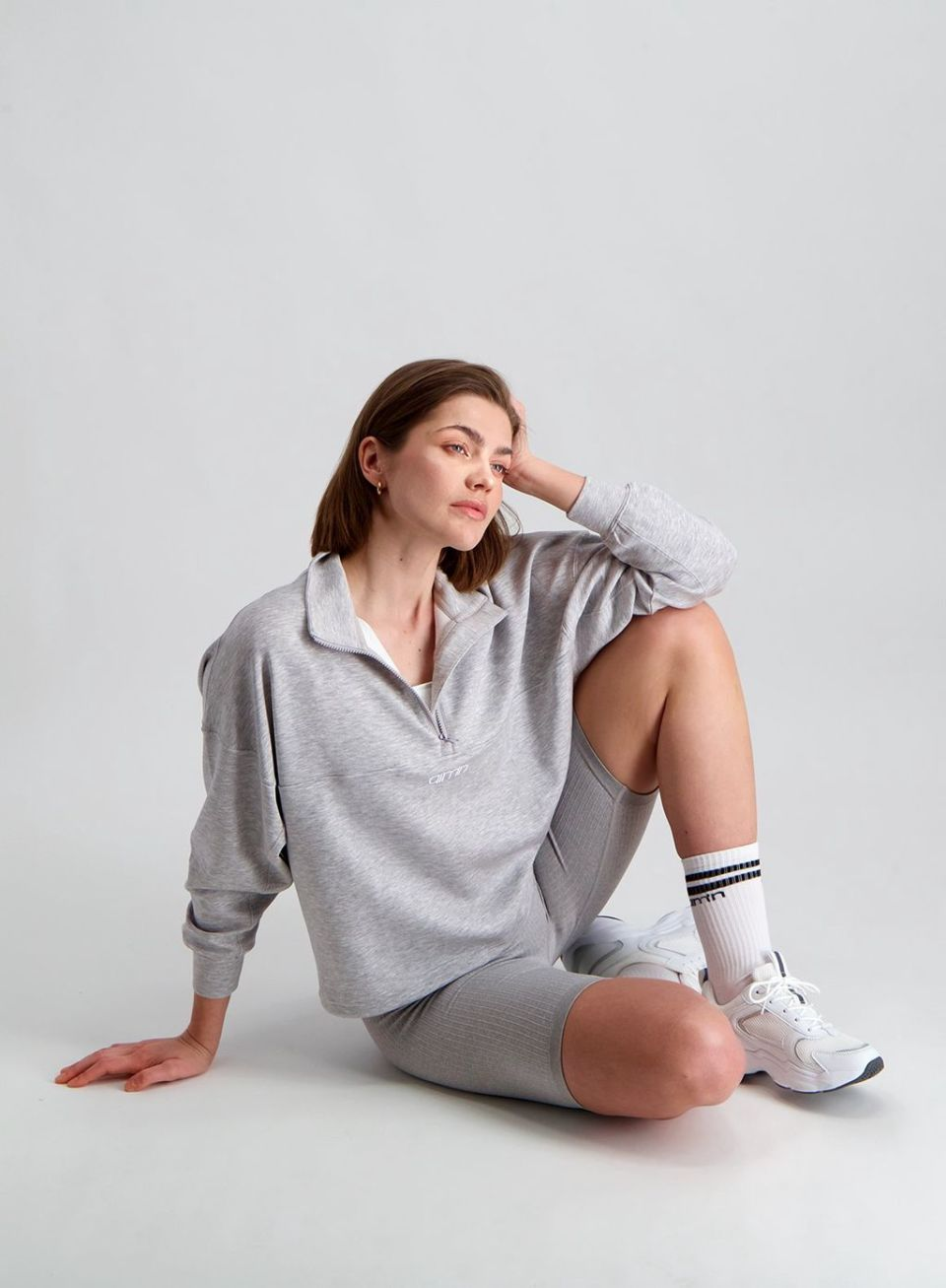 Light Grey Melange Comfy Half Zip
