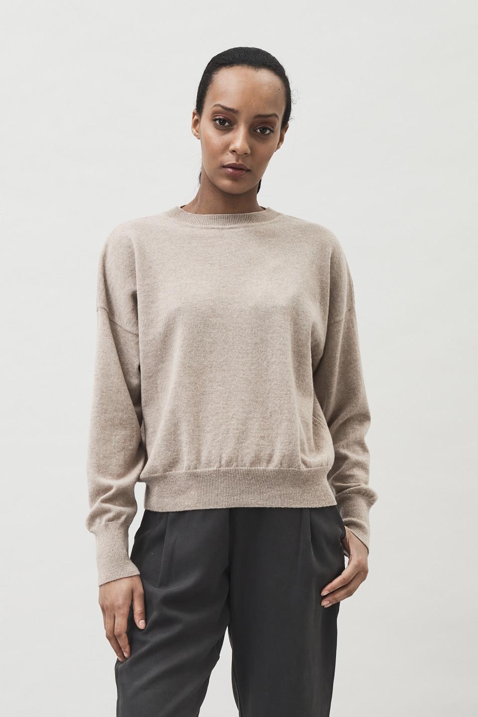 Ior Short Boxy Sweater - Oat Beige