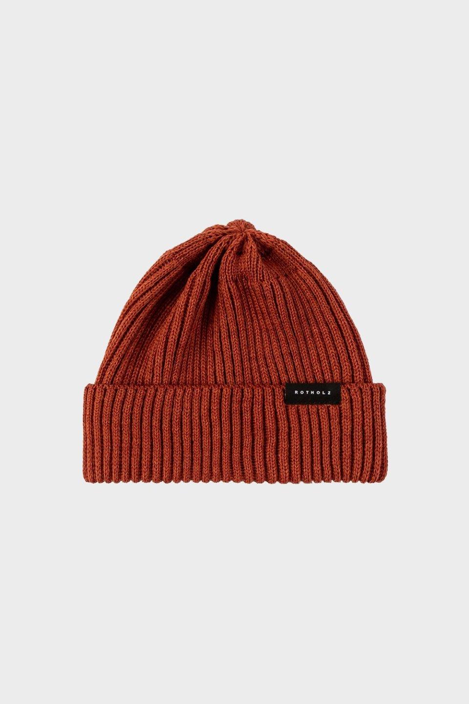 Kurze Mütze Merino Ripp Terracotta