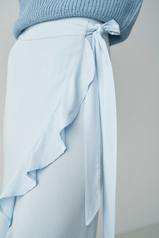 Flounce Hem Asymmetric Wrap Skirt