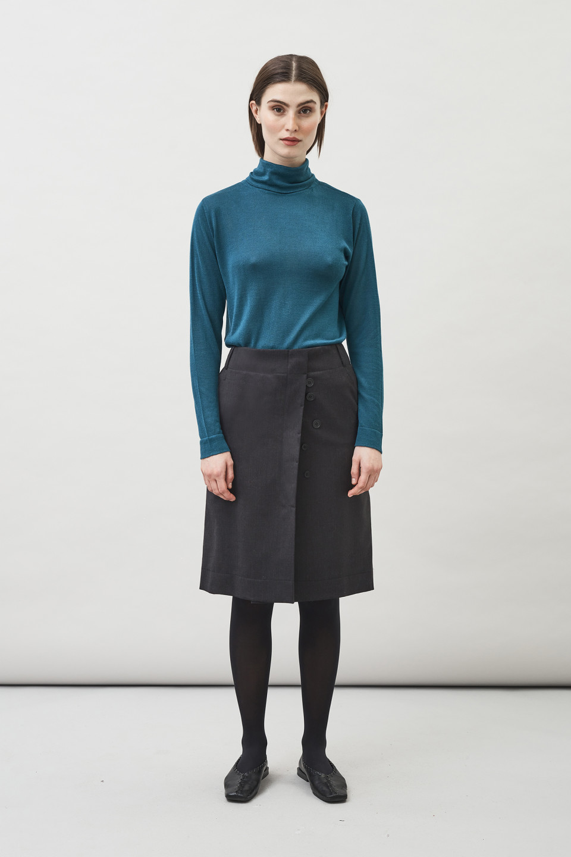 Max Wool Skirt - Charcoal