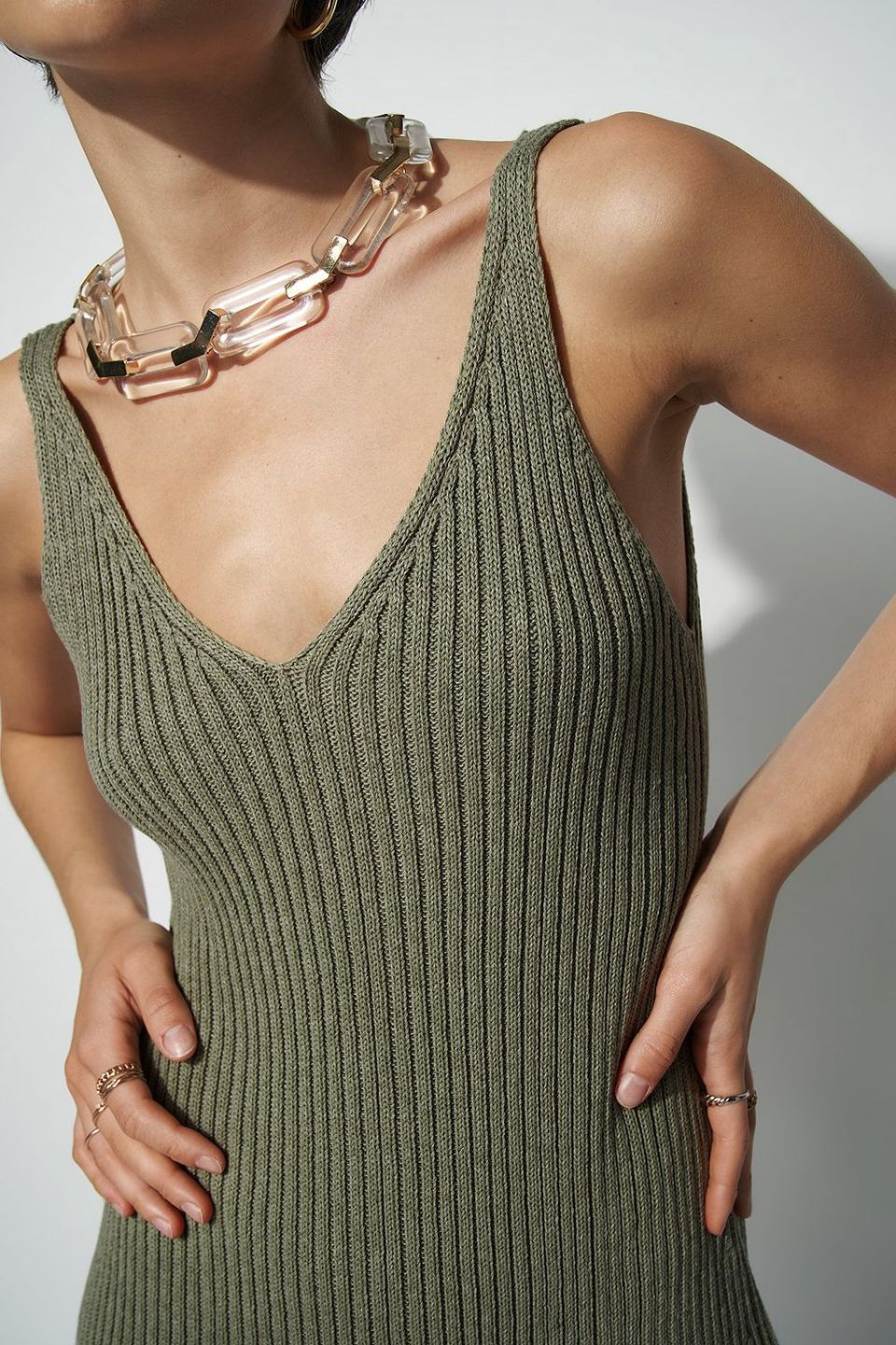 100 % Recycled V-neck Knitted Mini Dress