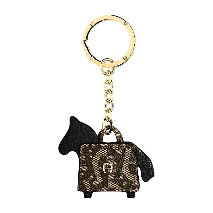 Aigner Damen Schlüsselanhänger Pferd und Tasche, Materialmix in Schwarz