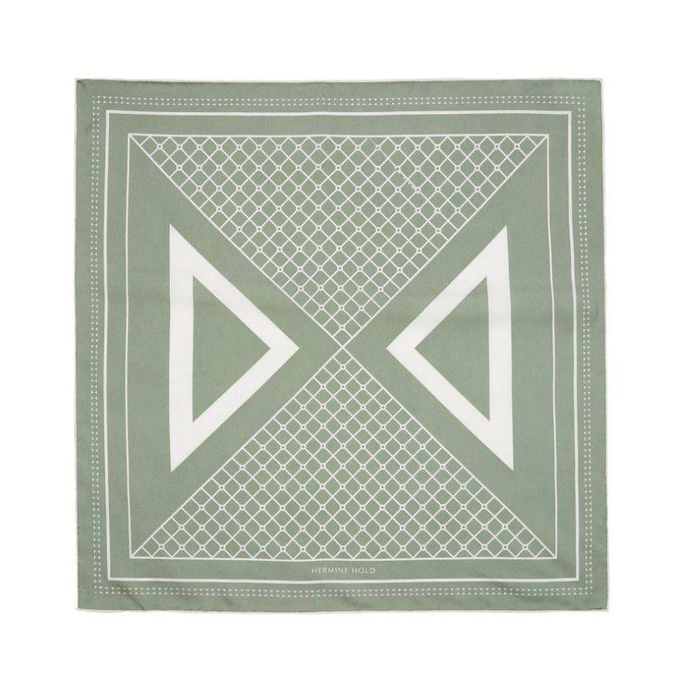Hermine Split Silk Scarf - Khaki & White