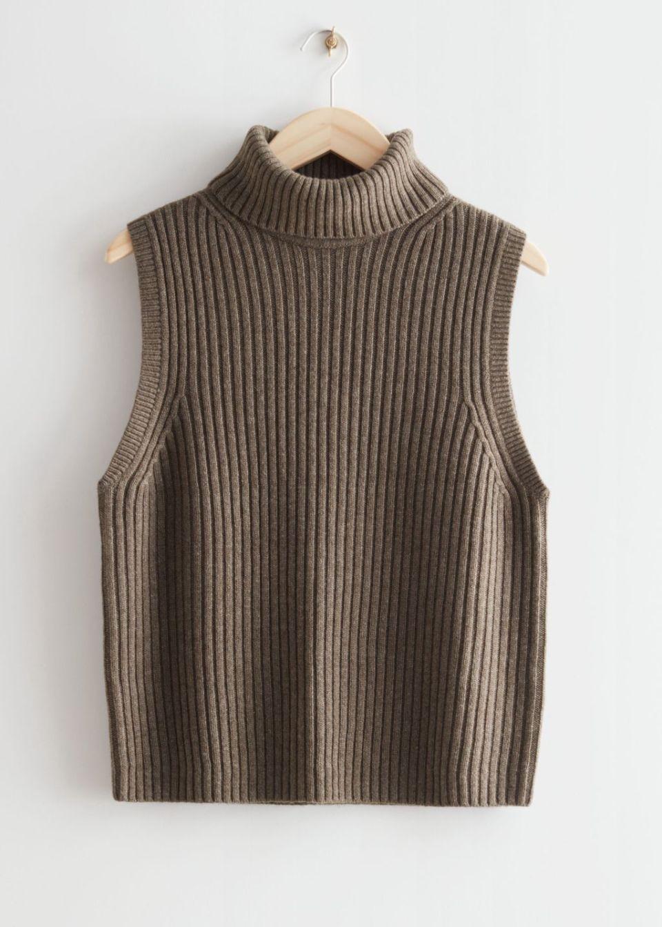 Turtleneck Wool Knit Vest