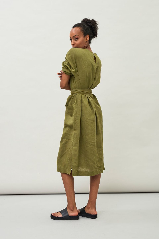 Opal Linen Dress - Avocado green