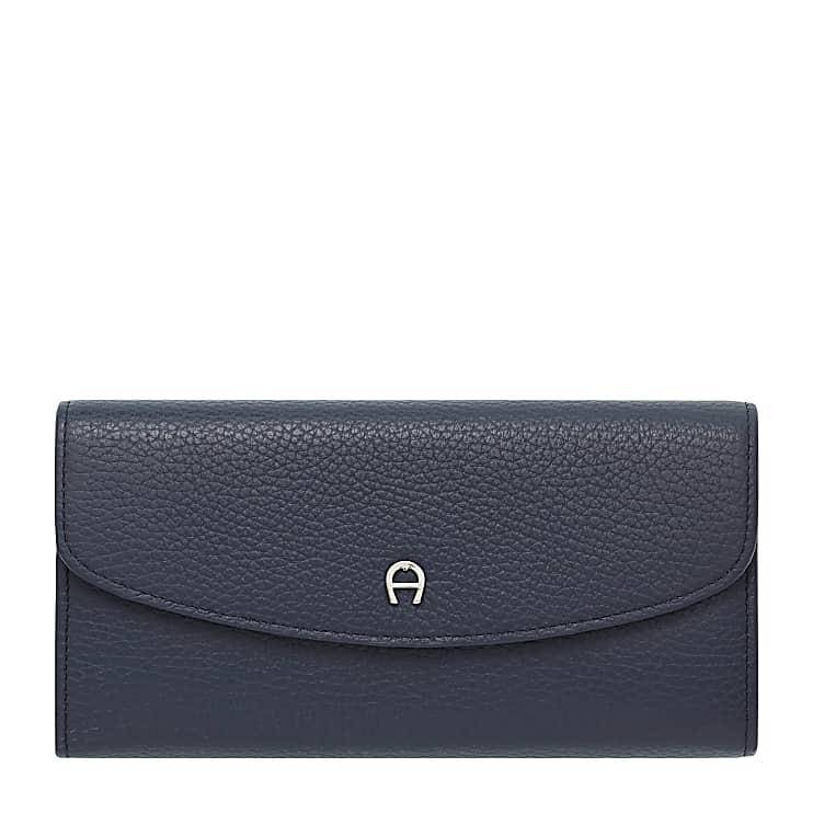 Aigner Damen Leder Portemonnaie, Prägung in Blau