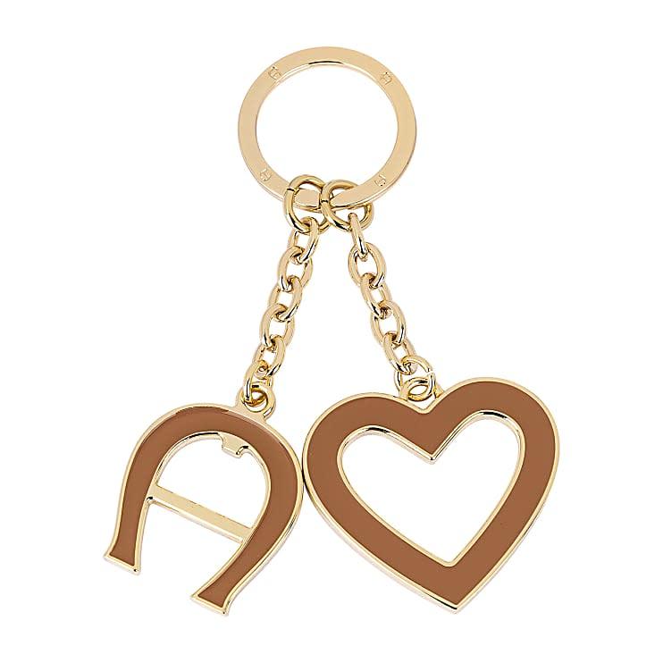Aigner Damen Schlüsselanhänger Herz und Logo, Metall in Braun