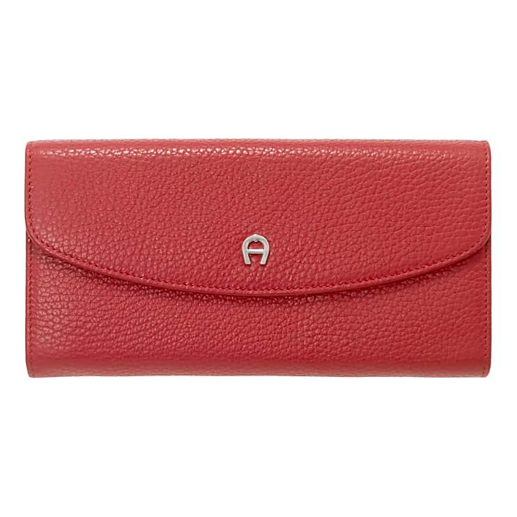 Aigner Damen Leder Portemonnaie, Prägung in Rot