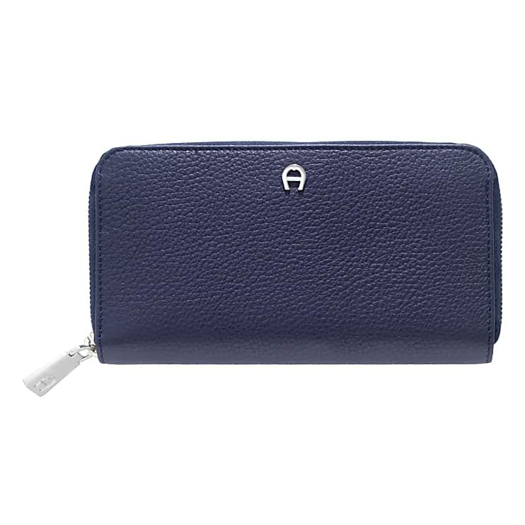Aigner Damen Geldbörse mit Reißverschluss, Prägung in Blau