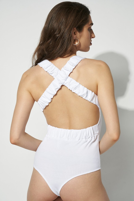 Wide Elastic Strap Open Back Bodysuit