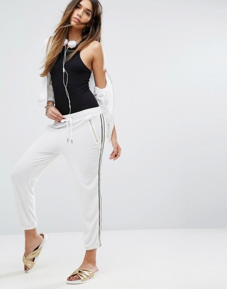 Juicy Couture - Black Label Microterry - Hose mit Racerstreifen - Weiß