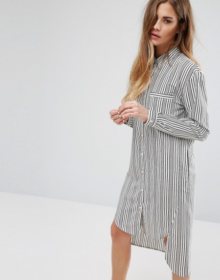 Daisy Street - Hemdkleid mit Streifen - Grau