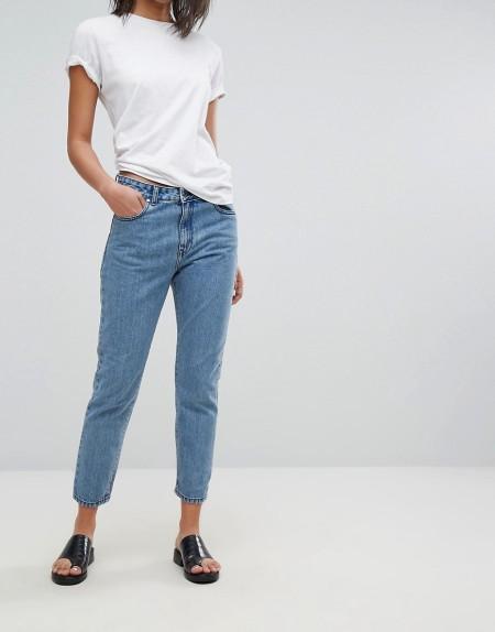 Dr Denim - Mom-Jeans mit hoher Taille - Blau
