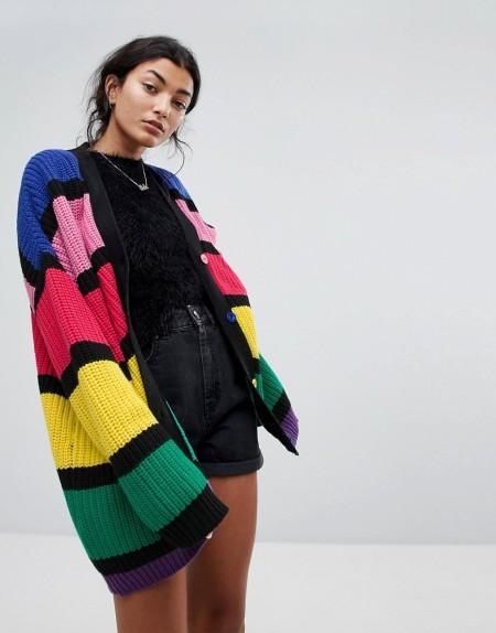 Lazy Oaf - Oversized-Strickjacke mit auffälligen Regenbogen-Streifen - Mehrfarbig