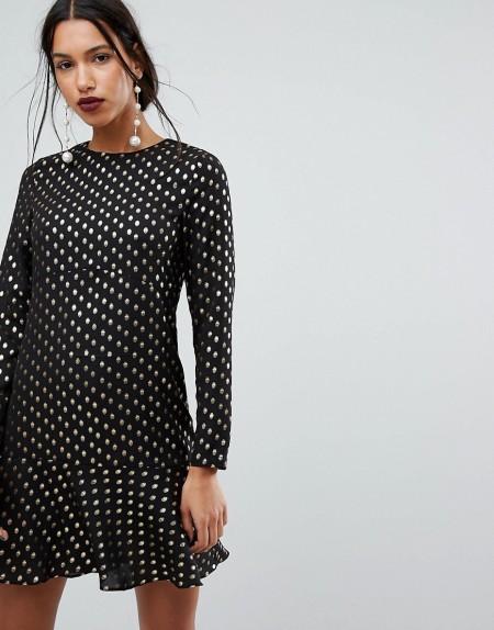 Warehouse - Kleid mit Rüschensaum und Metallic-Tupfen - Mehrfarbig