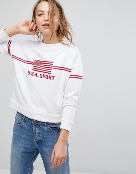 Daisy Street - Boyfriend-Sweatshirt mit sportlichem Print - Weiß
