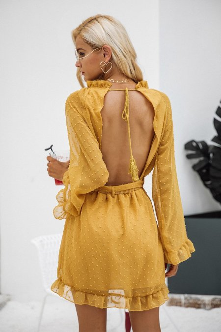 Fashion Movements: open back detailed yellow chiffon dress with flare sleeve