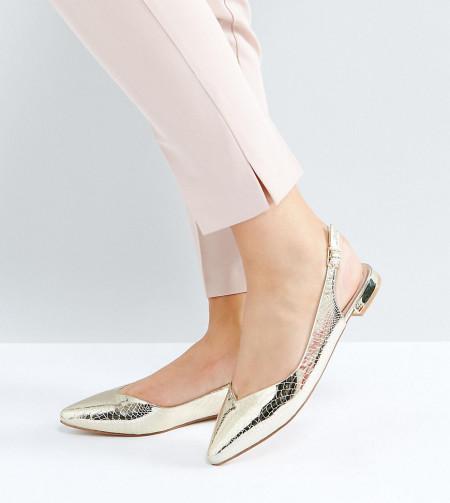 Faith Wide Fit - Aaliyah - Spitze, flache Schuhe - Gold