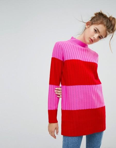 E.L.K - Hochgeschlossener Oversize-Pullover mit breiten Streifen - Rot