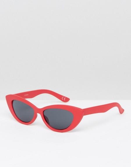 ASOS - Kleine Sonnenbrille mit spitzem Katzenaugendesign - Rot