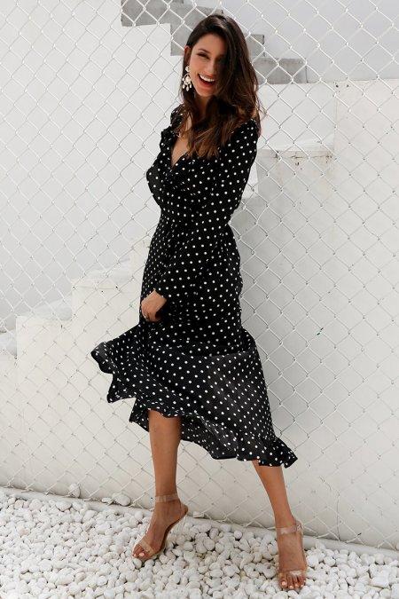 Fashion Movements: Polka dot wrap maxi dress
