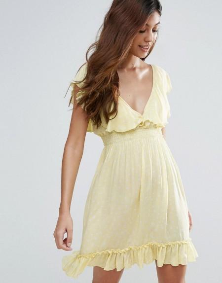 Liquorish - Kleid mit Punkten - Gelb