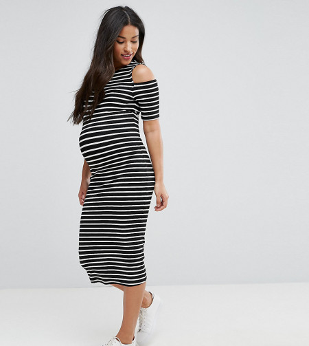 ASOS Maternity - Figurbetontes Kleid mit Schulterausschnitt und Streifen - Mehrfarbig