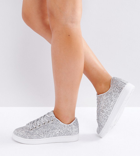 Truffle Collection - Breite Sneaker - Silber