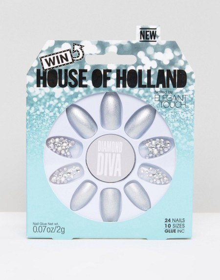 House of Holland Luxe by Elegant Touch - Diamond Diva-Nägel - Silber