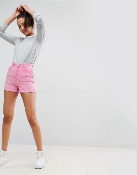 ASOS - Mom-Shorts aus Denim in Rosa - Rosa