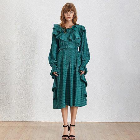 Fashion Movements: Green Ruffle Midi Dress