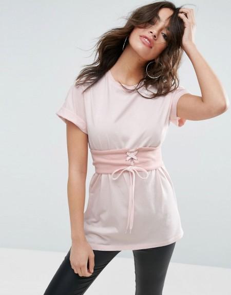 ASOS - T-Shirt mit Korsettschnürung - Rosa