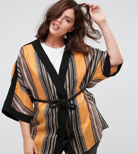 Elvi - Gestreifter Kimono - Mehrfarbig